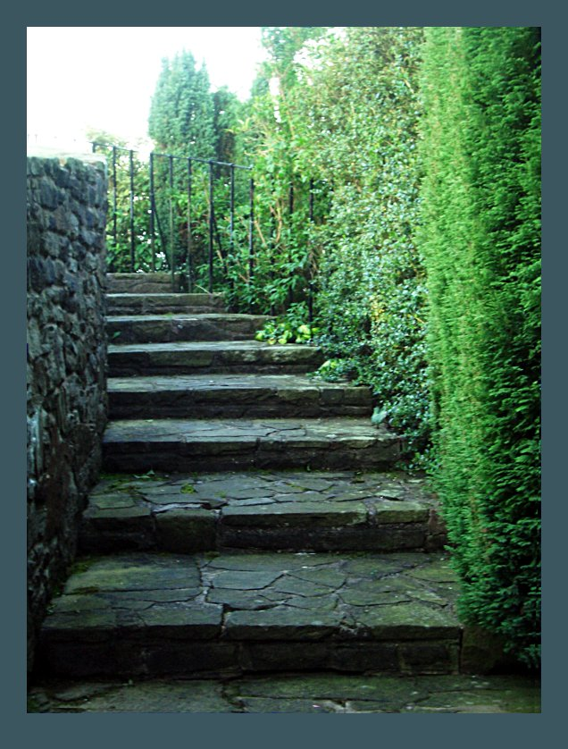 Winding Stone Stairs In The Garden 3details