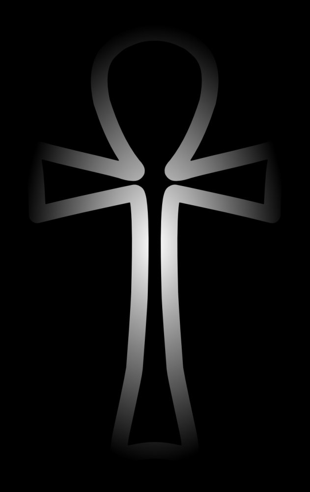 White Ankh Cross On A Black Background Image 316x500 Pixels