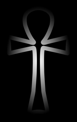 White ankh cross on a black background
