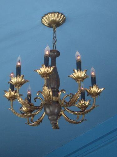 [Picture: Candelabra.  Blue ceiling.]