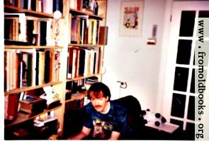 [picture: Liam using a laptop computer in 1998 or 1999, with a cat (Moon) helping.]