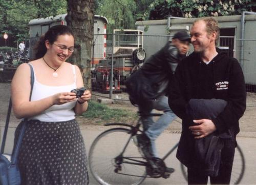 [Picture: StarGirl, Julias and a blurry cyclist.]