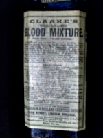 [picture: Clarke's Blood Mixture 2 (closeup of label)]