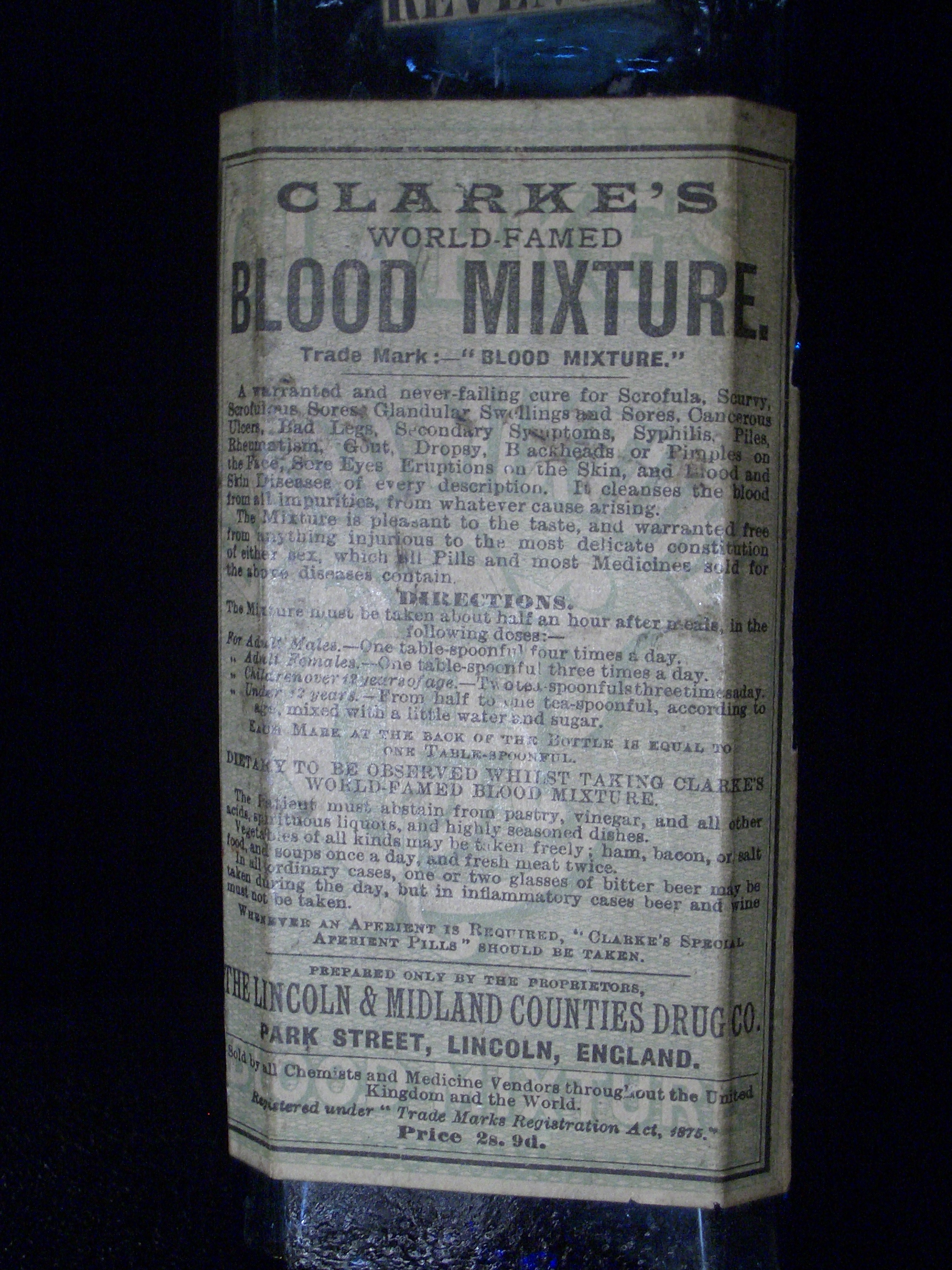 [Picture: Clarke's Blood Mixture 2 (closeup of label)]