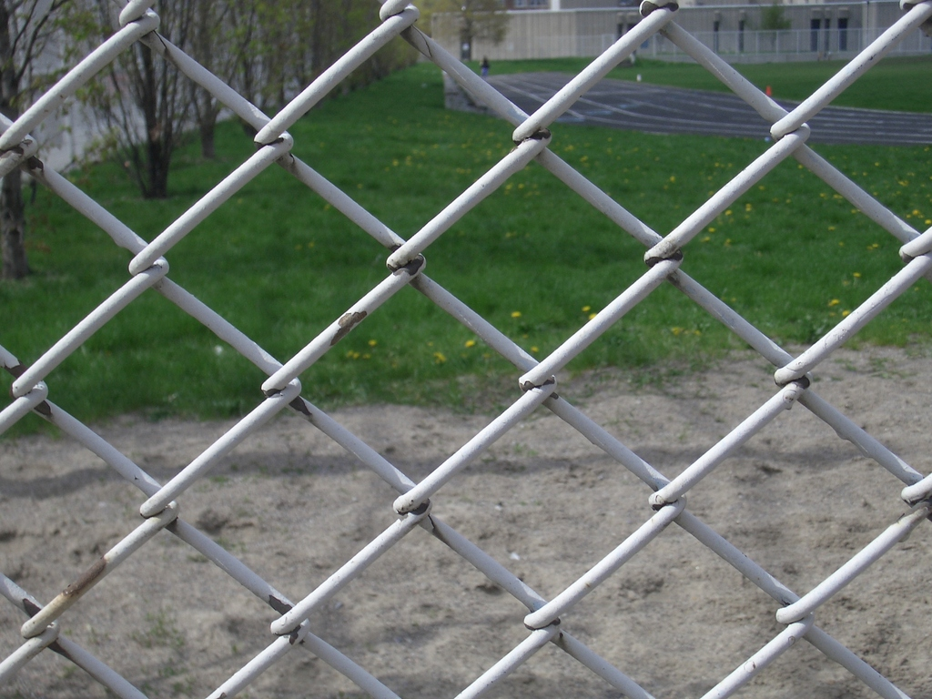 [Picture: chain-link fence outside school 2]