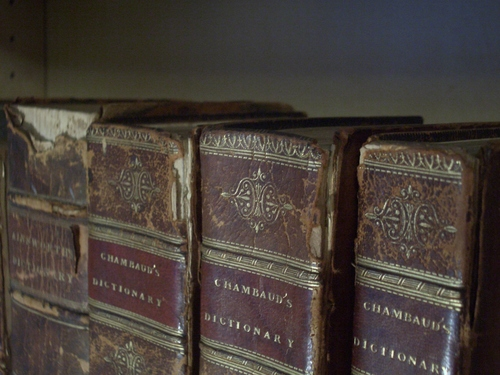 [Picture: Old Leather Books: spines]