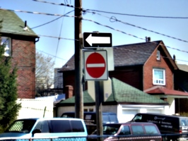 [picture: One way.  No Entry.]