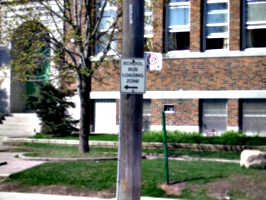 [Picture: School bus loading zone]