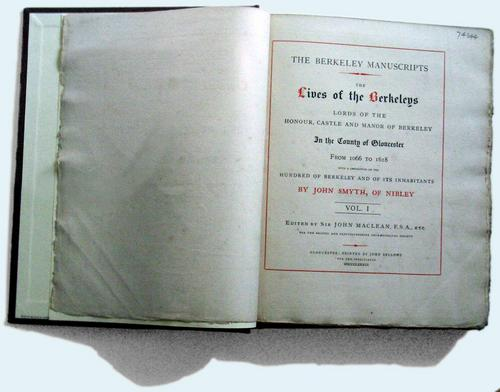 [Picture: Lives of the Berkeleys open to the title page]