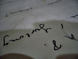 [Picture: Handwriting on a napkin]