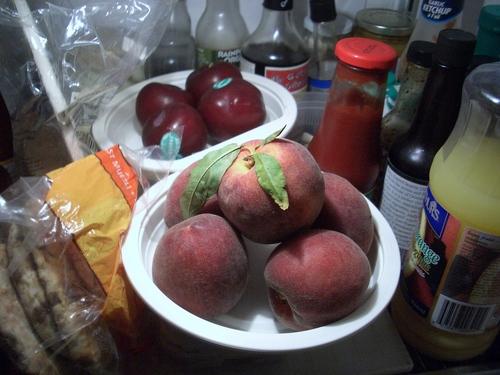 [Picture: Fruit and bread: Fridge shelf]