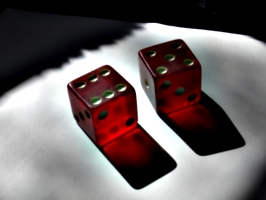 [Picture: Two translucent red dice]