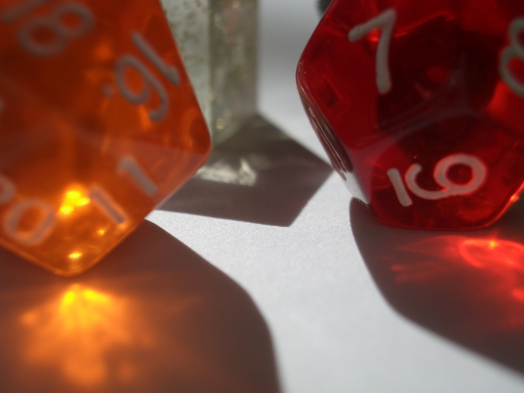 [Picture: coloured plastic gaming dice 5]