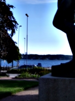 [Picture: Water seen from statue]