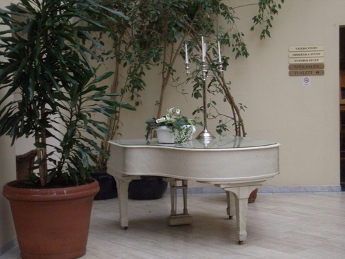 [Picture: White grand piano with candelabra and large potted plant]