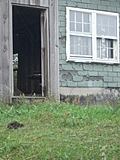 [Picture: Barn door with turd]