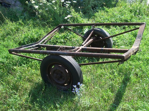 [Picture: Old boat trailer]