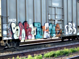 [Picture: Graffiti on railway truck]