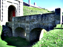 [picture: Pendennis Castle 2: bridge over the moat]