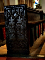 [picture: Parish Church 14: Carved end of a pew 2]