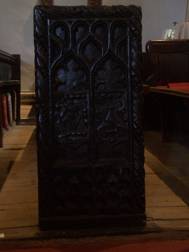 [Picture: Parish Church 13: Carved end of a pew]