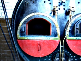 [picture: Steam engine boiler fireplace]