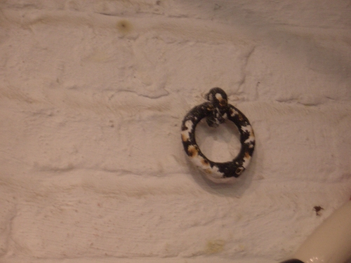 [Picture: Iron ring set in a whitewashed brick wall]