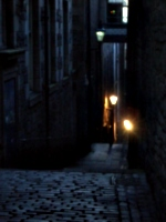 [picture: Narrow cobbled alleyway]