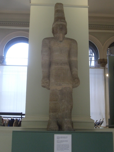 [Picture: Sandstone Column-Statue of the God Arenenuphis, Protector of Temples]
