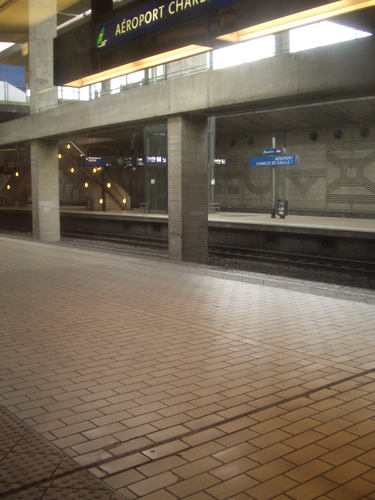 [Picture: Railway station at Charles de Gaulle airport]