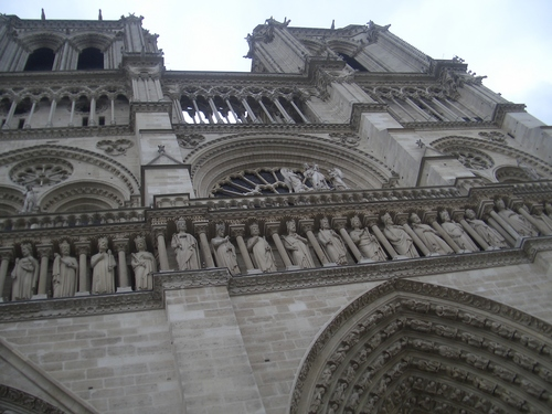 [Picture: Looking up to the saints of Notre Dame]