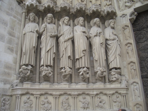 [Picture: Statuary on Notre Dame cathedral]