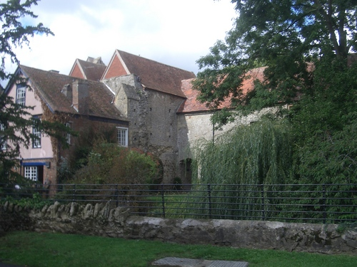 [Picture: Old abbey buildings and willow tree 2]