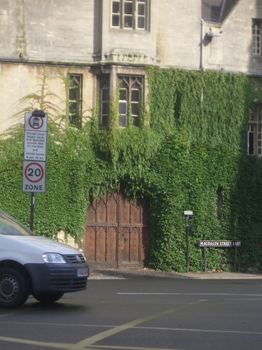 [Picture: Door through ivy-covered wall]