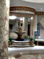 [picture: Hotel lobby: marble fountain]