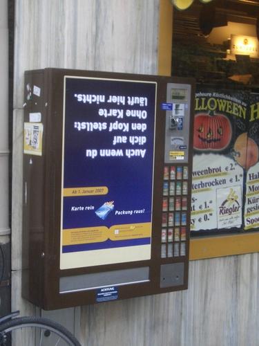 [Picture: Upside-down vending machine]