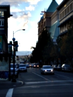 [picture: Street with distant hills]