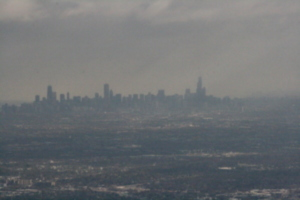 [Picture: Chicago skyline from the air]