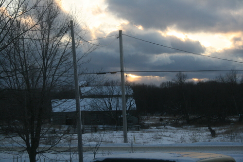 [Picture: Sunset over the barn]