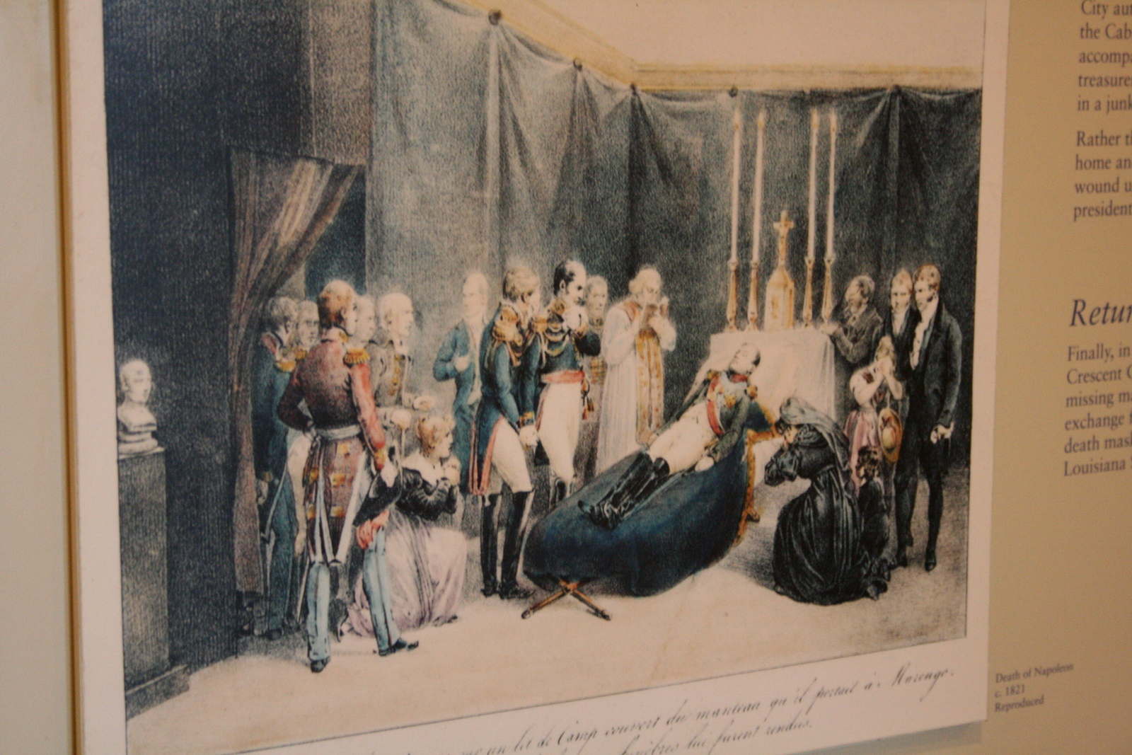 [Picture: Napoleon on his death bed.]