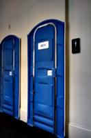 [picture: Museum toilet door]