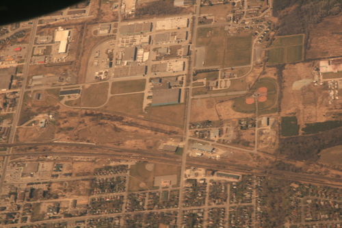 [Picture: Southern Ontario Town from the air]