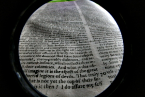 [picture: Closeup words 9: horrid legions of devils (wide-angle fish-eye)]