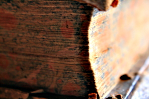 [picture: Corner of a 1663 leather-bound book 2]