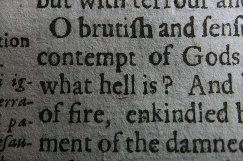[Picture: Closeup words 8: what hell is? of fire,]