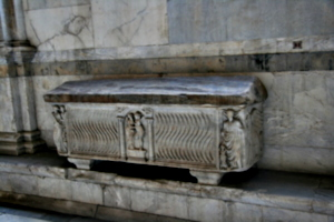 [picture: Rectangular fluted sarcophagus]