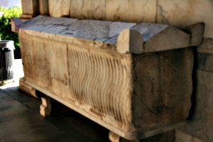 [picture: Rectangular sarcophagus with fluting.]