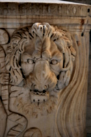[picture: Carved lion's head]