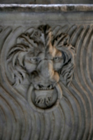 [picture: Stone lion's head with ring 1]