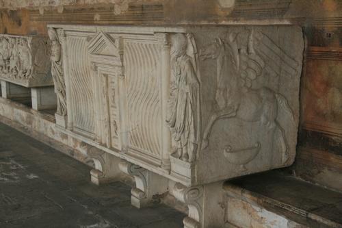 [Picture: Pegasus stone coffin]